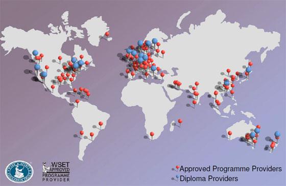 WSET「葡萄酒及烈酒教育基金會認證」全球分布圖